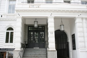 Entrance area to a white house